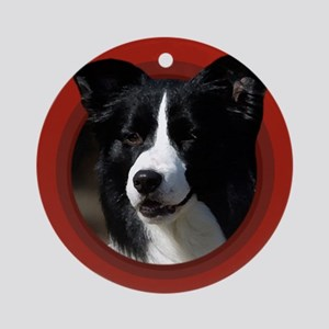 Border Collie Red Round Ornament