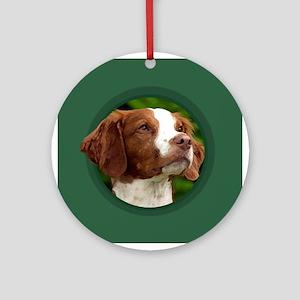 American Brittany Green Round Ornament