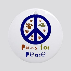 Paws for Peace Navy Ornament (Round)