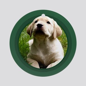 Yellow Labrador Puppy Green Round Ornament