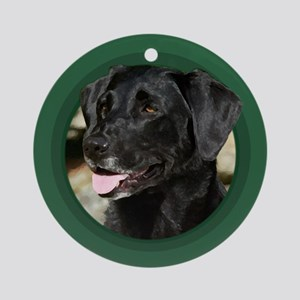 Black Labrador Green Round Ornament