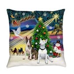 Xmasmagic-Two Bull Terriers Everyday Pillow