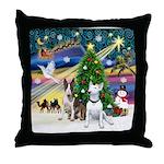 XmasMagic-Two Bull Terriers Throw Pillow
