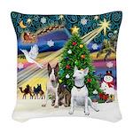 Xmasmagic-Two Bull Terriers Woven Throw Pillow