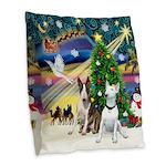 XmasMagic-Two Bull Terriers Burlap Throw Pillow