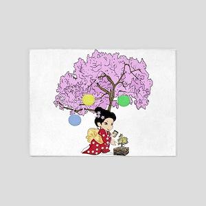 Cute kokeshi style 5'x7'Area Rug