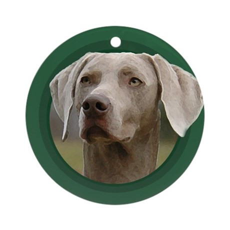 Weimaraner Green Round Ornament