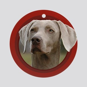 Weimaraner Red Round Ornament