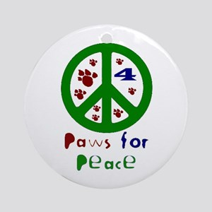 Paws for Peace Green Ornament (Round)