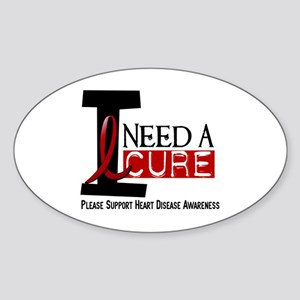 I Need A Cure Heart Disease Oval Sticker
