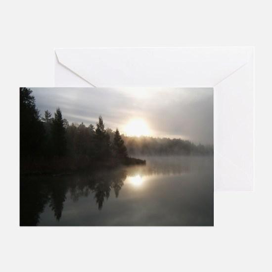 Sunrise on Bridge Lake, MI Greeting Card