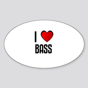 I LOVE BASS Oval Sticker