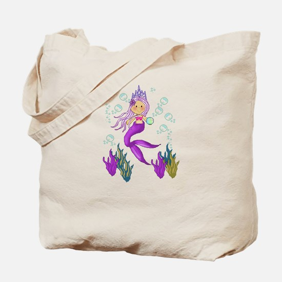 Purple Mermaid Princess Tote Bag