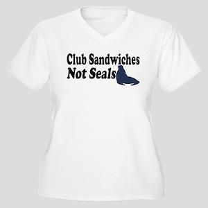 Club Sandwiches... Women's Plus Size V-Neck T-Shir