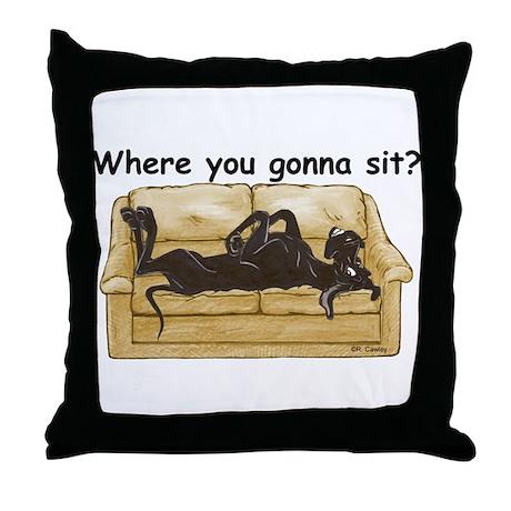 NBlk Where RU Throw Pillow