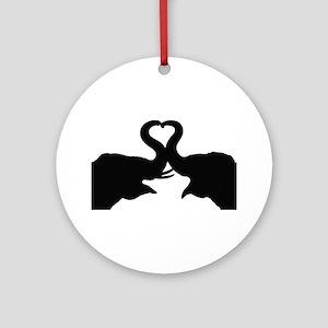Love Elephant Valentine Ornament (Round)