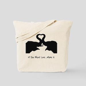 Make Love Heart Elephant Vale Tote Bag