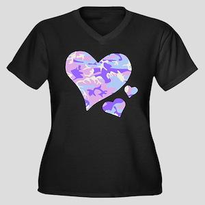 Purple Camo Hearts Women's Plus Size V-Neck Dark T