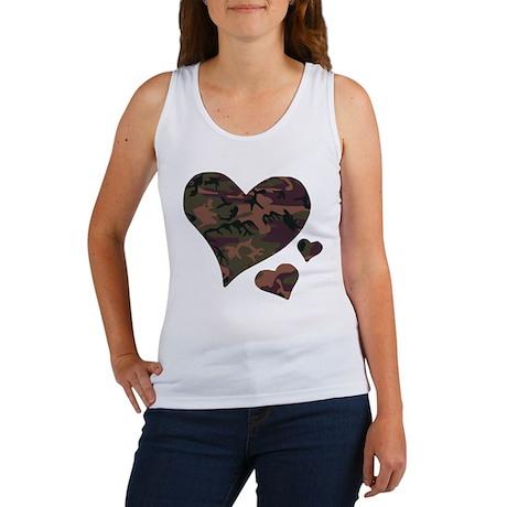 Brown Camo Hearts Women's Tank Top