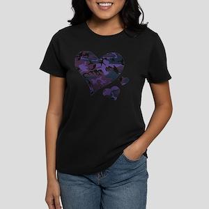 Purple Camo Hearts Women's Dark T-Shirt