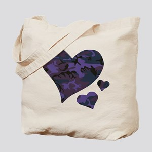 Purple Camo Hearts Tote Bag