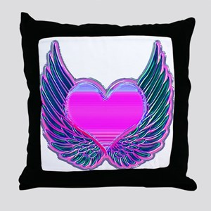 Heart and Angel Wings Pink Throw Pillow