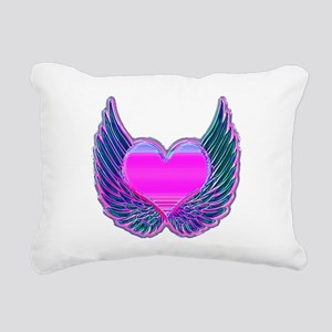 Heart and Angel Wings Pink Rectangular Canvas Pill