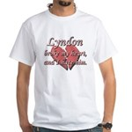Lyndon broke my heart and I hate him White T-Shirt