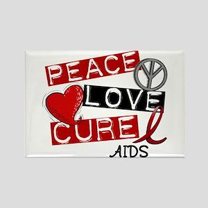 PEACE LOVE CURE AIDS (L1) Rectangle Magnet