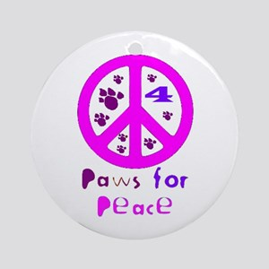 Paws for Peace Pink Ornament (Round)