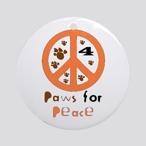 Paws for Peace Orange Ornament (Round)