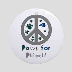 Paws for Peace Grey Ornament (Round)