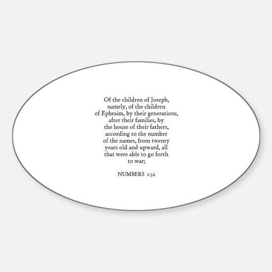 NUMBERS 1:32 Oval Decal
