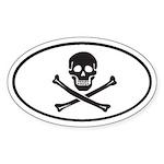 Skull and Crossbones Oval Sticker
