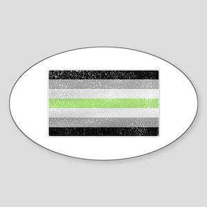 Distressed Agender Pride Flag Sticker (Oval)