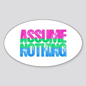 Polysexual Pride Assume Nothing Sticker (Oval)