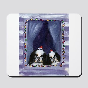 JAPANESE CHIN Christmas light Mousepad