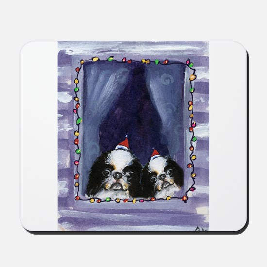 JAPANESE CHIN Christmas light Mousepad