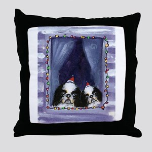 JAPANESE CHIN Christmas light Throw Pillow