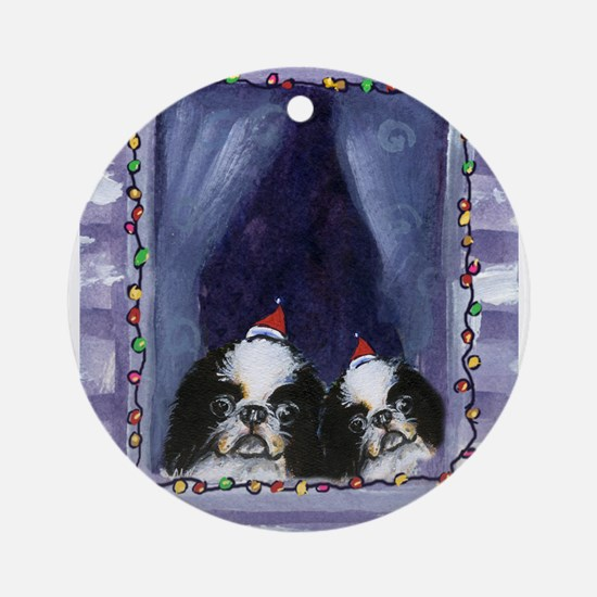 JAPANESE CHIN Christmas light Ornament (Round)
