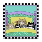 5 Kitty Cats in Bed Tile Coaster