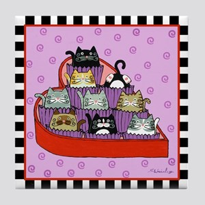 Valentines Day Kitty Cat Chocolates Tile Coaster