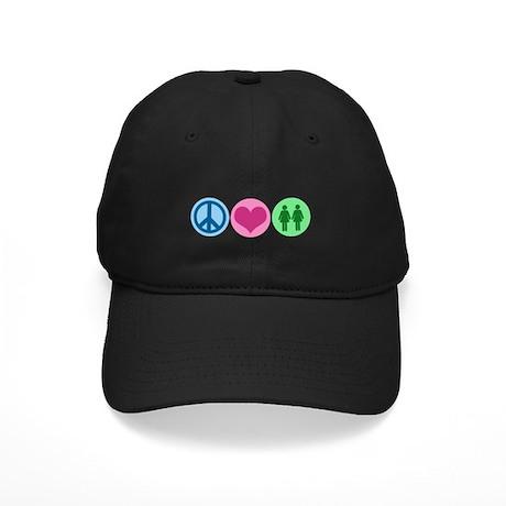 Peace Love Gay Black Cap