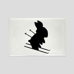 Ski Bunny Rectangle Magnet