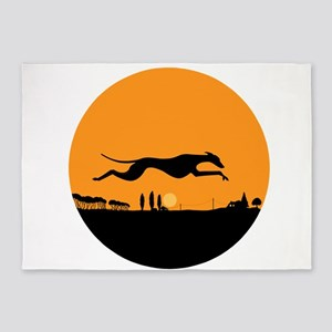 Harvest Moon Whippet Round 5'x7'Area Rug