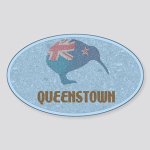 Queenstown New Zealand Oval Sticker