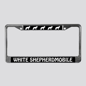 White Shepherdmobile License Plate Frame