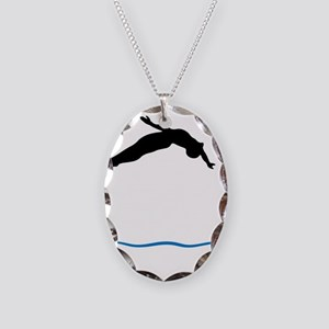 Springboard Diving Necklace Oval Charm