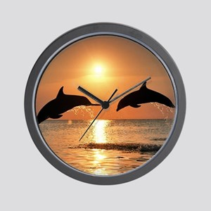 Two Dolphins Wall Clock