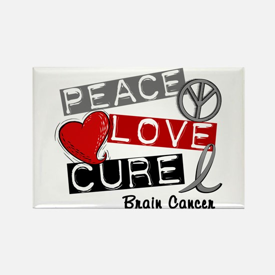 PEACE LOVE CURE Brain Cancer (L1) Rectangle Magnet